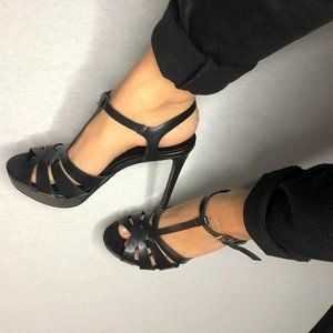 (NEW) GUESS 6 inch black, strappy open-toed heels